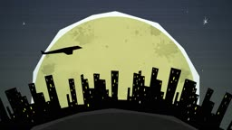 Dynamic graphic animation using paper cutout styled elements to illustrate a night cityscape against the moon. High definition 1080p and loop-ready. This is one of a suite of simple paper cutout style animated illustrations which have similar dynamics. Pl