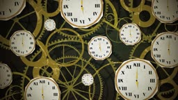 Dynamic graphic animation using paper cutout styled elements to illustrate random clocks on a clockwork background. High definition 1080p and loop-ready. This is one of a suite of simple paper cutout style animated illustrations which have similar dynamic