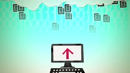 Dynamic graphic animation using paper cutout styled elements to illustrate the uploading of documents to the cloud. High definition 1080p and loop-ready. This is one of a suite of simple paper cutout style animated illustrations which have similar dynamic