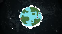 Dynamic graphic animation using paper cutout styled elements to illustrate the Earth in space with random locations highlighted. High definition 1080p and loop-ready. This is one of a suite of simple paper cutout style animated illustrations which have si
