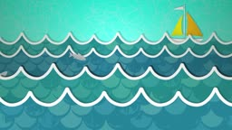 Dynamic graphic animation using paper cutout styled elements to illustrate an ocean of waves. High definition 1080p and loop-ready. This is one of a suite of simple paper cutout style animated illustrations which have similar dynamics. Please check my por