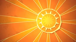 Dynamic graphic animation using paper cutout styled elements to illustrate the sun radiating warm rays. High definition 1080p and loop-ready. This is one of a suite of simple paper cutout style animated illustrations which have similar dynamics. Please ch