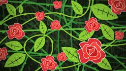 Dynamic graphic animation using paper cutout styled elements to illustrate a bush of red roses. High definition 1080p and loop-ready. This is one of a suite of simple paper cutout style animated illustrations which have similar dynamics. Please check my p