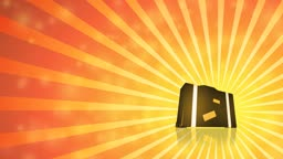 Loopable animated illustration of a three-dimensional suitcase revolving over a hot sunburst. HD 1080p quality 29.97fps.