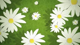 Dynamic graphic animation using paper cutout styled elements to illustrate summer daisies on grass. High definition 1080p and loop-ready. This is one of a suite of simple paper cutout style animated illustrations which have similar dynamics. Please check
