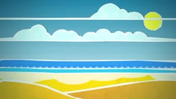 Dynamic graphic animation using paper cutout styled elements to illustrate a sunny beach High definition 1080p and loop-ready. This is one of a suite of simple paper cutout style animated illustrations which have similar dynamics. Please check my portfoli