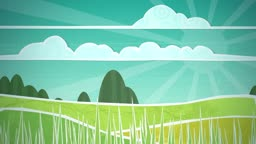 Dynamic graphic animation using paper cutout styled elements to illustrate a sunny countryside scene. High definition 1080p and loop-ready. This is one of a suite of simple paper cutout style animated illustrations which have similar dynamics. Please chec