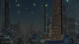 The bright red object (a meteorite, UFO) quickly flies on the night star sky. It occurs against the fantastic city consisting of high, strange buildings. The horizon is shrouded in a fog.