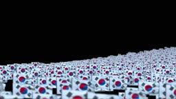 South Korea Flags and Camera Fly Over