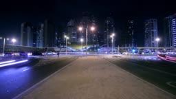 Dubai Street At Night Time Lapse. HD Video.