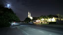 Night View Of The Mosque With Moon. Time Lapse HD Video.