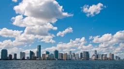 Time lapse of the Miami skyline on a sunny day