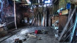 In The Old Barn. Time Lapse Shot Motorized Slider