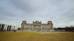 Time lapse view on the parliament building in Berlin