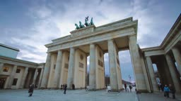 Time lapse view on Brandenburg gate in Berlin one of the most well known landmarks of Germany