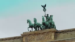Time lapse detail of the Brandenburg Gate in Berlin one of the most well known landmarks of Germany