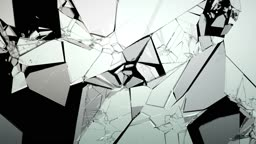 Cracked and Shattered glass with slow motion. Alpha
