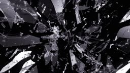 Demolished and Shattered glass with slow motion. Alpha