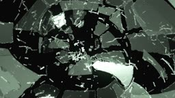 Glass demolished and shatter with slow motion.