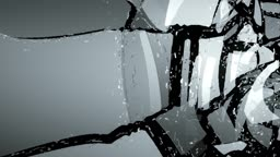 Glass shattered with slow motion. Alpha