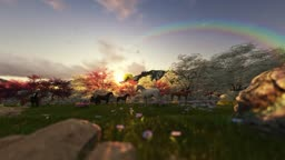 Spring scenery with horses and air balloons at sunset