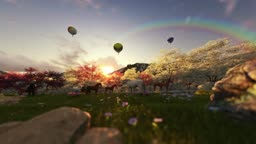 Spring scenery with horses and air balloons at sunrise