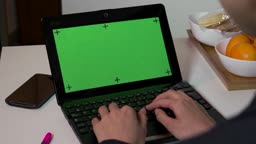 Pc Computer Green Screen Monitor Businesswoman Working Typing On Keyboard