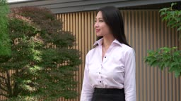 Confident Happy Successful Asian Business Woman Businesswoman Smiling At Camera