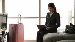 Japanese Businesswoman Woman Working With Computer Hotel Room Business Travel