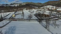 Mountain village in winter