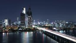 서울 한강 여의도 도심과 마포대교 야경