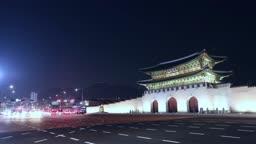 서울 종로구 광화문 교차로 퇴근길 차량 야경