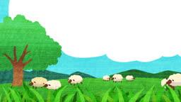 푸른 들판과 양떼 모습