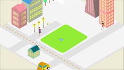사각형 안에 나타나는 도시 건물과 사람들 모습