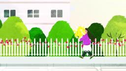 꽃다발 들고 거리를 걷고 있는 여자 모습