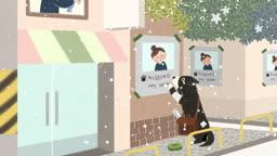 눈오는 겨울날 아기를 돌보는 여성과 주인을 찾는 강아지 모습