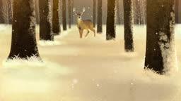a8444446_눈이 내리는 숲 속의 사슴 한마리