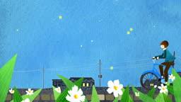 a10412417_꽃잎 날리는 봄 저녁 자전거 타는 소녀