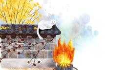 a10457769_가을 담벼락에서 불을 쬐며 앉아있는 고양이
