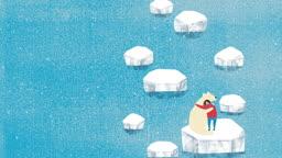 jv11117471_북극의 얼음이 녹아 갈 때가 없는 북극곰과 소녀의 포옹