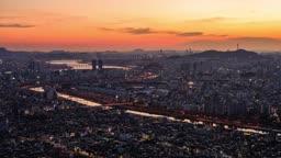 서울특별시 중랑천과 동부간선도로 야경모습