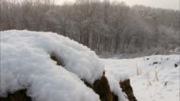 강원도 산골짜기 눈 녹는 모습
