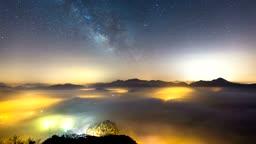 전라북도 임실군 옥정호 운해와 밤하늘 풍경