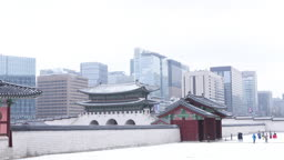 서울 종로구 경복궁 눈 내리는 겨울 풍경