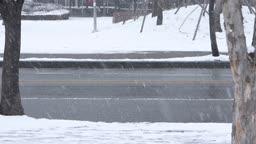 경기도 동두천 눈 내리는 도로 위를 지나가는 자동차 겨울 풍경