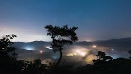 전남 임실군 국사봉 소나무 일대 산 운해 야경