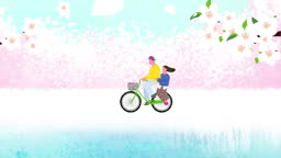 벚꽃이 떨어지고 자전거를 타는 연인