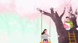 벚꽃이 떨어지고 그네를 타는 여인과 나무 위에서 그림을 그리는 남자