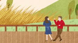 가을 공원에서 이야기 나누는 연인