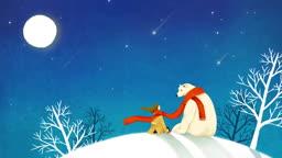 별똥별이 떨어지는 밤 마주보고 있는 북극곰과 여인